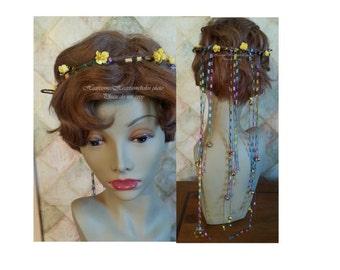 Fairy head wreath rainbow jingle bell colorful crown fairie head wreath clown jester rose