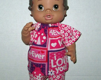 Corolle Tidoo, Corolle Calin Doll,  Baby Alive, Baby Alive All Gone, Doll Clothes I Love you Pink Purple Short Set Love  Bug