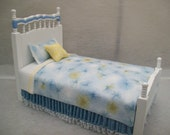 One Inch scale, blue, white, yellow, Single Bed, for the dollhouse, hand made one of a kind bed.