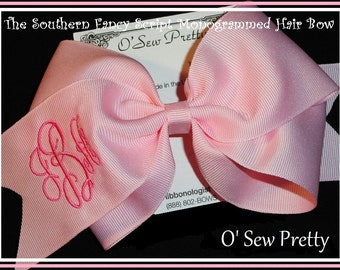 Personalized Hair Bows, Monogrammed hair bow, Southern Fancy Script Monogrammed Classic Bow, Monogrammed bows, Fancy monogram hair bows
