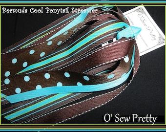 Brown and blue preppy Hair Streamer, Burmuda Cool Ponytail Streamer, Ponytail streamers, Ponytail holders, Stripe ribbon ponytail holders
