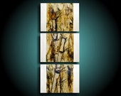 Abstract Painting ~ Bamboo ~ Tree Painting ~ Encaustic Art ~ Asian Painting ~ Triptych Canvas Wall Art ~ THE RAW CANVAS ~ Outsider Art ooak