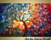 Original Abstract Whimsical Landscape Painting of a Tree through Seasons ENJOY the SUNSET 36 by 24 by Luiza Vizoli