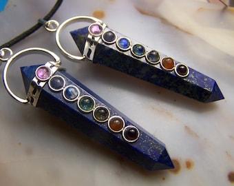 Lapis Luzuli necklace pendant with chakra gemstone cabochon rainbow - Double Terminated crystal  polished stone point - silver blue - bead