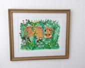 RES ///// Original Gouache Painting Fox in a Flower Prison / Original Painting by Laurajean / Framed Original Art