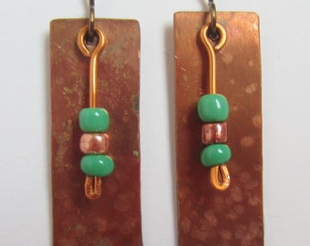 Copper Beaded Earrings