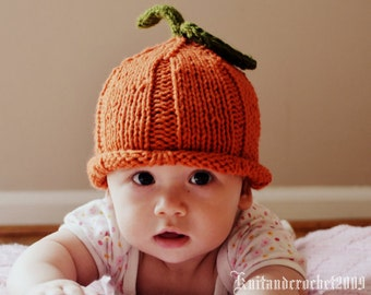 Pumpkin Hat, Knit Pumpkin Hat, Baby Pumpkin Hat, Halloween Hat, Fall Hat, Autumn Hat, Thanksgiving Hat, Baby Photo Prop Hat, Photo Prop Hat