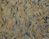 Marbled Paper with Red Ochre, Yellow Ochre, Green, Dark Gray, and Prussian Blue Small Comb Pattern