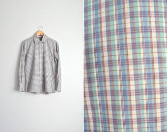 SALE / vintage men's '70s/'80s FALL PLAID long sleeve button-up shirt. size s m.
