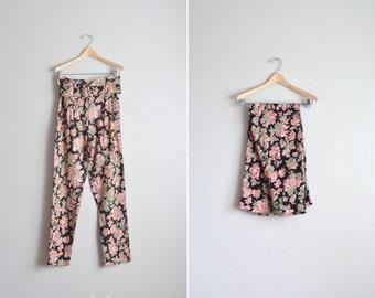 vintage '80s FLORAL black & pink HIGH WAIST rayon pants. size m.