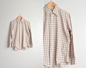 SALE // Size M // PLAID Button-Up Shirt // Tan & Cream - Long Sleeve - Oxford - Vintage '70s.