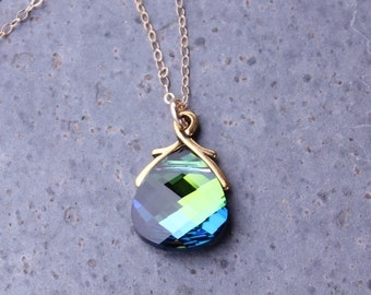 Aqua sphinx Swarovski crystal briolette gold necklace -  blue green color changing crystal - 14k gold filled chain - free shipping in USA
