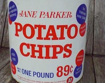 Jane Parker Potato Chips tin