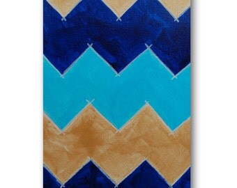 Chevron Panel on Canvas - Original Painting - Gold, Blue, Navy, Yellow and Teal Wall Art - by Nicole Dietz - Contemporary Chevron Art