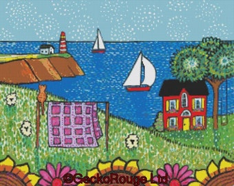 Modern cross stitch, Shelagh Duffett 'Quilters Cottage', counted cross stitch KIT (Alice in Paris), mde with DMC materials