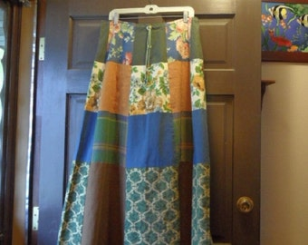 Patchwork Skirt 32 in. waist women long / green blue brown flowers plaid / boho / tier / aline / gypsy