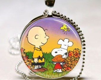 PEANUTS Snoopy Charlie Brown THANKSGIVING Altered Art Pendant Charm Necklace