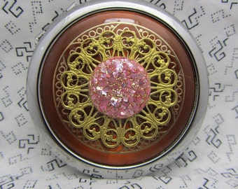 Compact Mirror Glittering Pink Comes With Protective Pouch