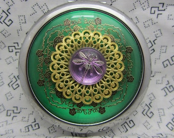 Compact Mirror Dragonfly Protective Pouch Included