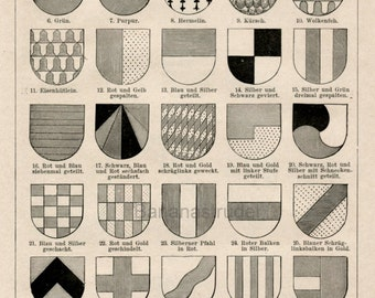1897 Back-to-Back German Engraving on Heraldry