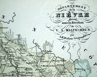 1800s Antique Map of Nievre, France - Inset of Nevers - French Hand-coloured map - Nievre Antique Map