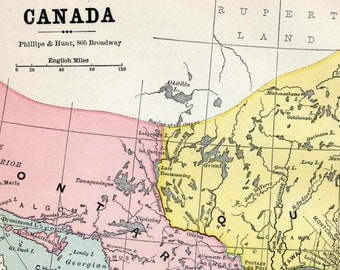 1883 Vintage Map of Canada - Old Canada Map - Old Map of Canada