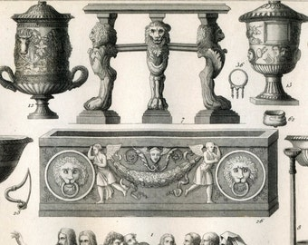 1860 Vintage Print / Antique Steel Engraving of Roman Tools and Furniture. Plate 16