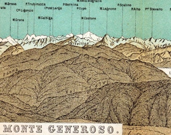 Antique Print of the Alps - Panorama of the Alps from Monte Generoso, Switzerland - Long 1891 Vintage Print - Gift for  Him - Panoramic View