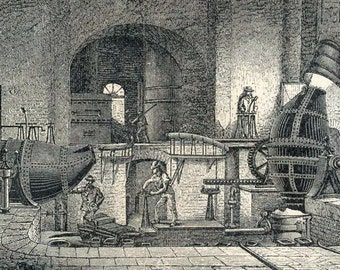 1894 German Engraving of Iron Production. No. 2
