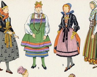 1925 French Art Deco Hand Coloured Pochoir Print on Women's Fashions in Scandinavia. Plate 2