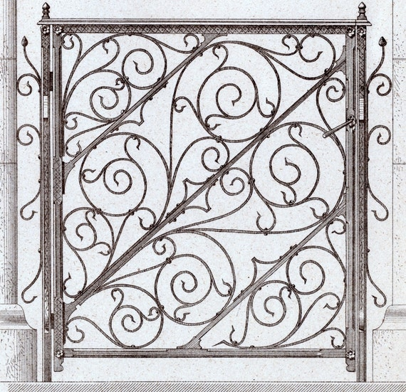 1880 French Antique Engraving of Decorative and Architectural Metalwork. Cast-iron Panels of a Grating. Plate 38