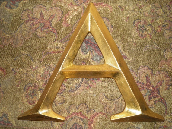 Distressed resin wall letters antiqued gold leaf large for Large gold letters for walls