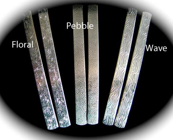 2 Texture 1/4 x 6 Inch 14 Gauge Polished Embossed Floral - Pebble or Wave Bracelet Blank Cuffs Food Safe Aluminum Flat Metal Stamping Blank