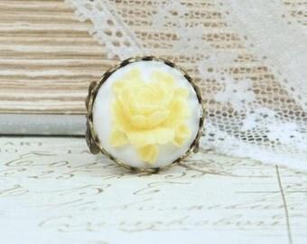 Yellow Rose Ring Rose Cameo Ring Yellow Rose Jewelry Cameo Ring Adjustable Ring Rose Cameo Jewelry