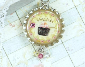 Chocolate Cupcake Necklace Bottle Cap Jewelry Cupcake Pendant Bottle Cap Necklace Cupcake Jewelry