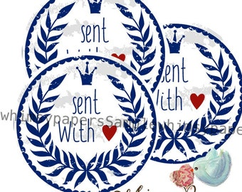 "Blue ""Sent With"" love Stickers - set of 50"