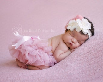 Shabby Floral Baby headband and Bloomer Set..Full chiffon Bloomers.Hair bow and Diaper Cover...