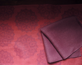 Red Port Wine Lace Medallion rustic holiday linen hand block printed table runner and coordinating napkins