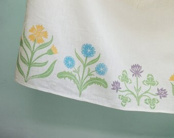 Cottage Garden Cafe Curtain hand block printed in colorful spring pastels 57 x 27 inch home decor set of two panels