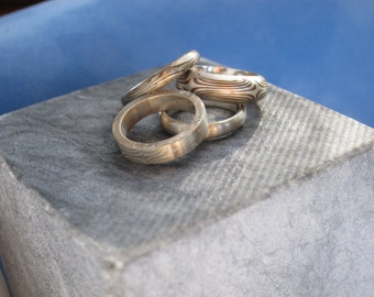 Mid finger rings Mokume gane Mixed metals