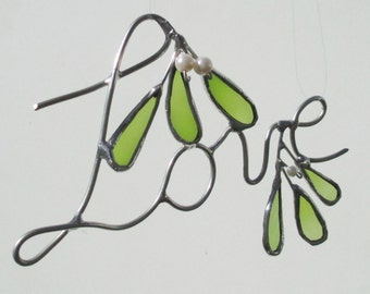 Love - Wire and Glass Mistletoe Upcycled Stained Glass Christmas Home Decor or Suncatcher