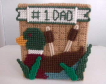 Needlepoint Father's Day Tissue Box Cover, Needlepoint #1 Dad Tissue Box Cover , Handmade Father's Day Tissue Box Cover