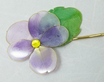 Resin Flower Kanzashi, Floral Hair Accessory, Bobby Pin, Purple Pansy, Japanese Geisha