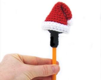 Santa Hat Crochet Pattern - Christmas Stocking Stuffer Gift - Pencil topper