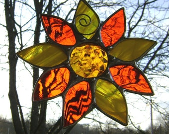 Daisy Sunflower Flowers Stained Glass Suncatcher Garden Sun Jewels Wedding Memorial Mothers Sisters Original Design©