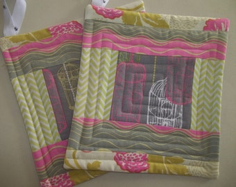 Pot Holder Set of 2 Modern Patchwork in Gray, Pink, Lime
