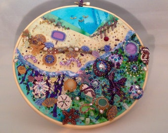 Embroidery Hoop Art Beach Theme