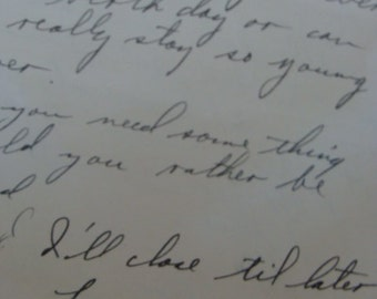 Antique Military Handwritten Love Letter from a Very Loving Military Man to His Sweetheart WWII