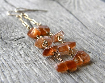 Sunstone and Gold Chain Earrings, Gemstone Nugget Wire Wrapped Earrings