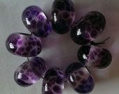 Set of 8 Clear with Amethyst Frit Lampwork Beads